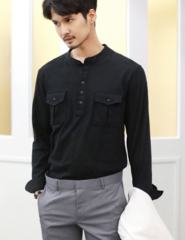 Pocket long-sleeve henley shirt