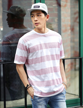 Striped crewneck t-shirt, 3colors