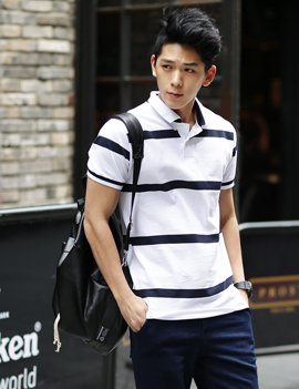 Short-sleeve striped collar t-shirt, 4colors