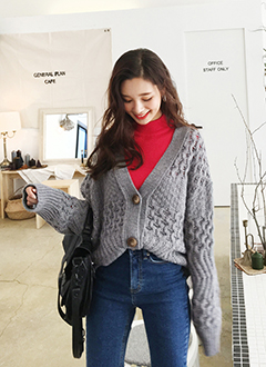 Cable Loose Fit Cardigan