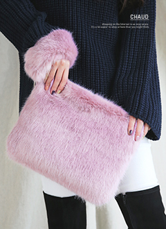 4Color Fake Fur Clutch Bag