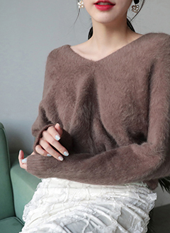 V Neck Angora Sweater