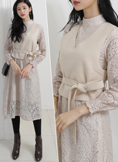 Lace Dress & Ve...